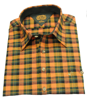 "Bayerwald® Hemd ""Flanell-Karo"" 43/44 | oliv-orange"